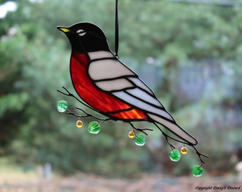 Robin Stained Glass Suncatcher