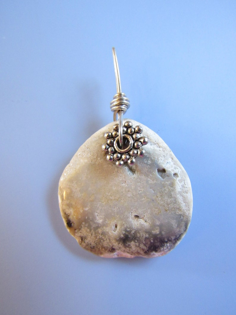 Ocean Sea Reef Scene 1 12 inch Tumbled Rock Sterling Daisy Pendant Britz Beads Supply Wire Wrap Natural Found Stone Object Drill