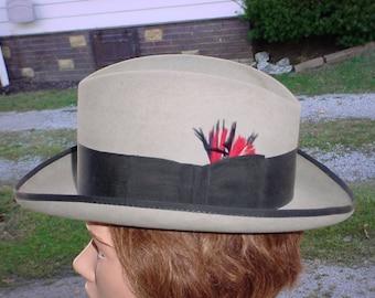 ac8df967373 Vintage Fedora 7 1 4 Mens Hat Gray Cavanagh Curved Brim Homburg Black Trim