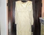 Vtg 80s does 20s 2 pc Creme Satin Lace Dress Scott McClintock S