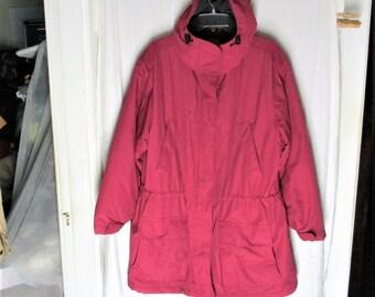 6de10a3657 Vintage 90s 1X Ladies Lands End Pink Fleece Lined Hooded Jacket Coat