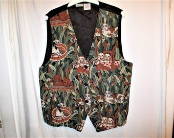 8e9e61dd Vintage 90s Puppy Dog Tapestry Vest Ladies Satin Back Button Up