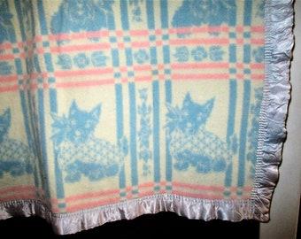 Vintage 50s Esmond Baby Blanket Scotty Dogs Blue White Pink