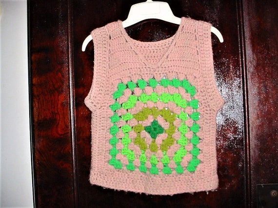Vintage 60s Handmade Crochet Hippie Pullover Vest