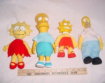 Vintage 90s Lot 4 Simpsons Figures Bart Lisa Homer