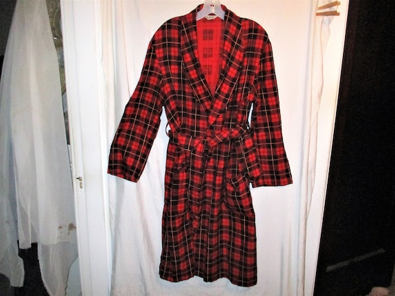 Vintage 50s Mans Bath Robe Red Plaid Bathrobe M Ar
