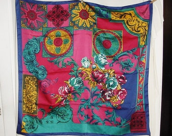 Vintage 80s Large Blue Fuchsia Poly Blend Shawl Wrap Scarf Flower Print
