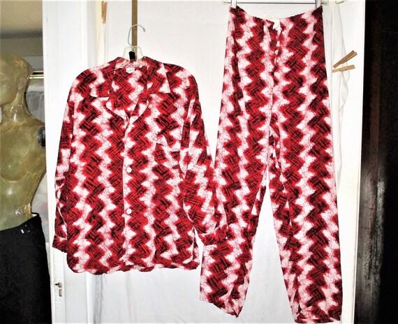 Vintage 50s Mens Rayon Chevron Print Pajama Set Re