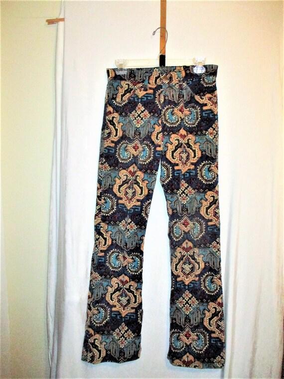 Vintage 70s Levis White Label Corduroy Print Pant… - image 1