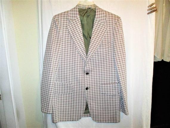 Vintage 50s Gray Check Dacron Wool Blend Sport Jacket 40L Mens 19Tall