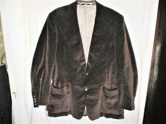 Vintage 70s Mens Brown Velvet Jacket 42 L Wide Col