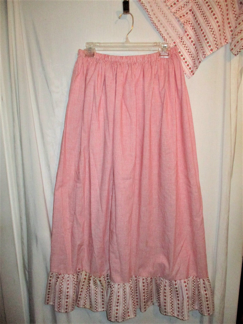 Vintage Handmade Red White Stripe Prairie Skirt /& Scarf M
