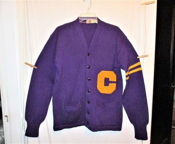 Vintage 50s Purple Wool Knit Letter Sweater 44 Men