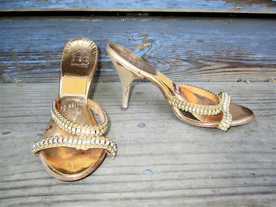 Vintage 50s Springolator Sandal Pumps Shoes 7 Gold