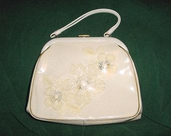 Vintage 60s White  Gold Trim Purse Kelly Handbag Flowers Under Vinyl