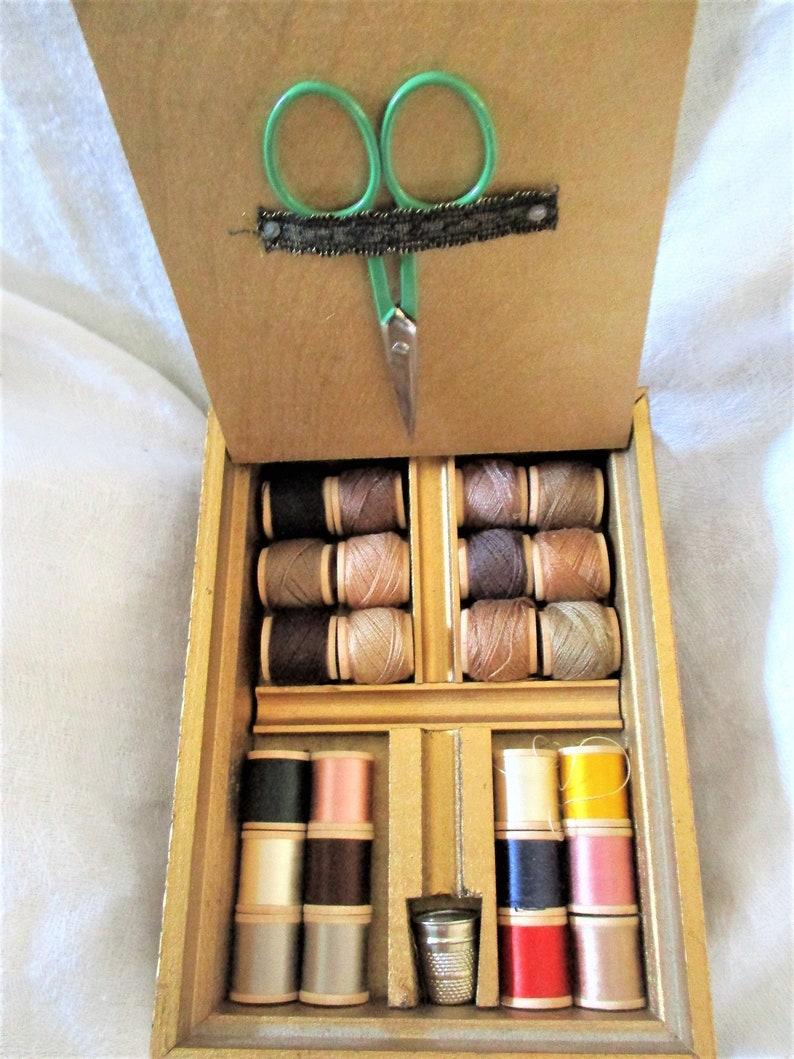 Vintage Sewing Box Travel Kit Gold Wood Decorative