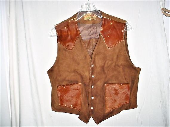 Vintage 40s Brown Cowhide Suede Fur Vest Southwest