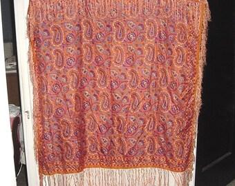Vintage 80s Orange Paisley I Magnin & Co Large Silk Scarf Shawl Fringe bch