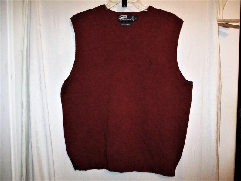 d1b32c8a7 Vintage 80s Ralph Lauren Polo Dark Red Wool Vest L Knit
