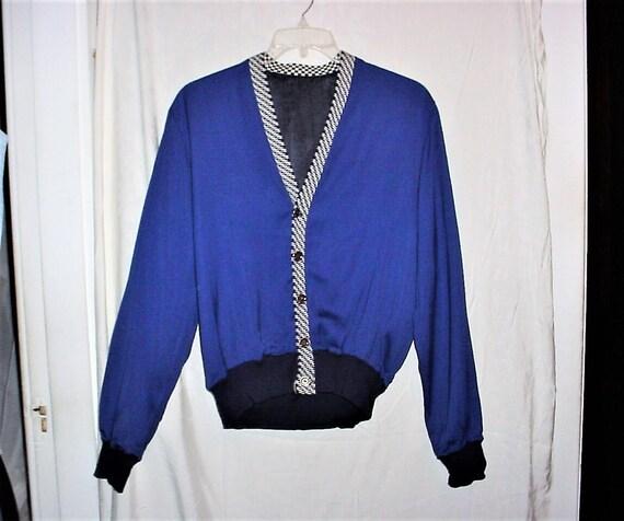 Vintage 50s Rayon Gabardine Jacket Blue S - M Mens
