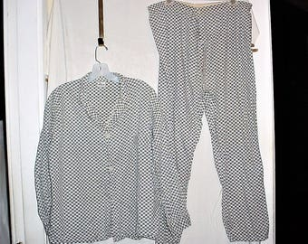Vintage 60s Check Pajama Set M Lord Carroll Blue Gray Red As Is