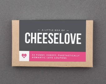 """Funny Love Basket Stuffer. Humorous, Hilarious Gift for Boyfriend, Girlfriend, Husband, Wife, Couple. Coupons. Sarcastic. """"Cheesy"""" (L2CHZ)"""