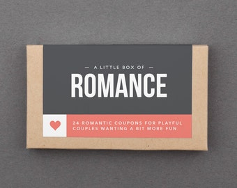 """1 Year Anniversary Gift for Her, Him, Boyfriend, Girlfriend, Wife, Husband. Love Coupons. First Paper Anniversary Gift. """"Romantic"""" (L2ROM)"""