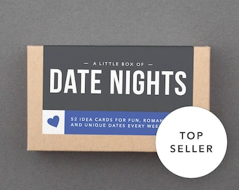 """First Anniversary Gift for Boyfriend. 1st One Year Anniversary. Paper Gift. Romantic, Unique Anniversary Gift. """"Date Nights"""" (L5DAT)"""