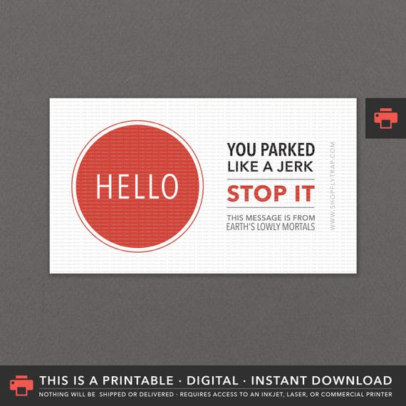 Amazing image within printable bad parking notes