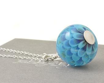 Long Lampwork Pendant | Sky Blue Lampwork Glass and Sterling Silver Necklace | UK Lampwork Jewellery