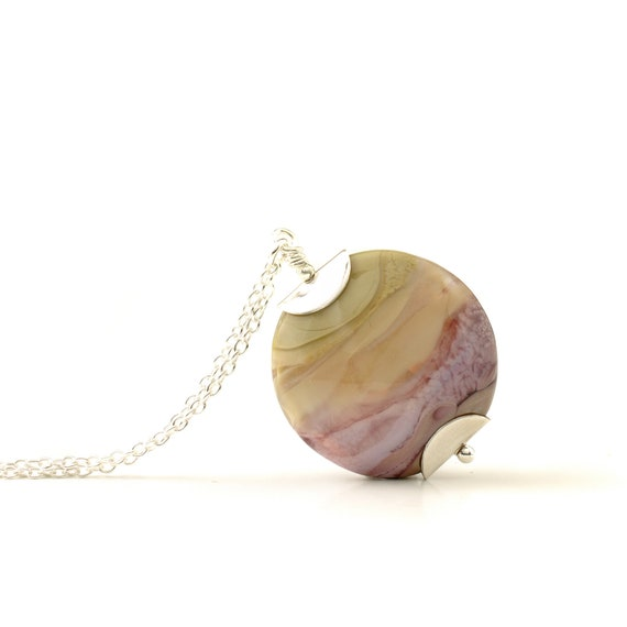 Lampwork Glass Necklace | Heather and Taupe Landscape Pendant on Sterling Silver Chain | OOAK Artisan Flameworked Jewellery Handmade in UK