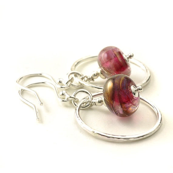 Bronzed Pink Handmade Glass and Silver Hoop Earrings