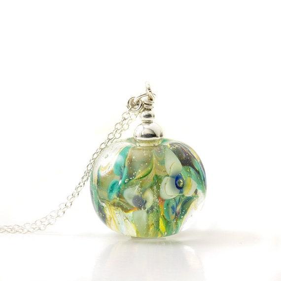 Lampwork Glass Flower Globe Long Sterling Silver Pendant Necklace | UK Handmade Jewellery