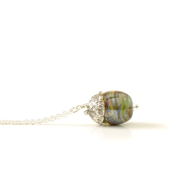 Handmade Glass and Silver Acorn Necklace