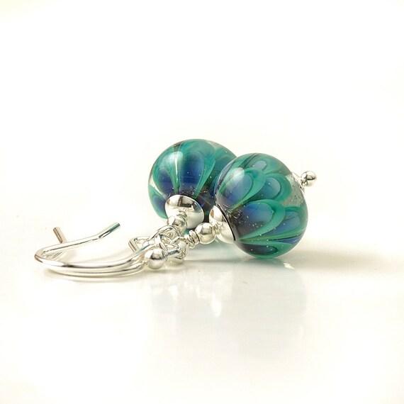 Handmade Teal Lampwork Glass Earrings