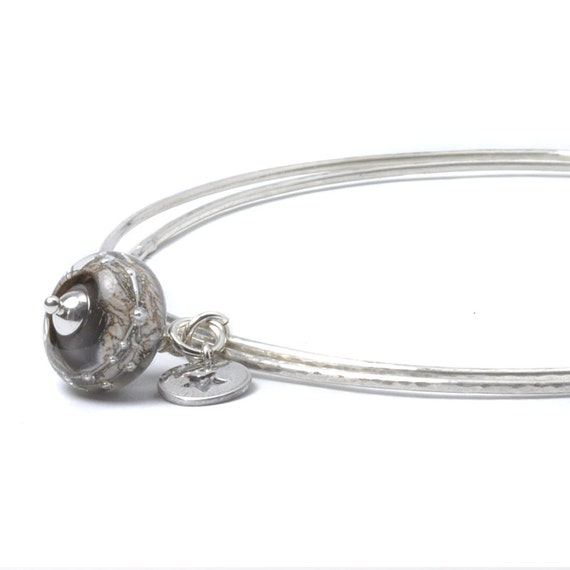 Sterling Silver Bangles with Grey Glass and Silver Star Charms | Lampwork Glass Charm Bangle | Slim Bangles | Stacking Bracelets