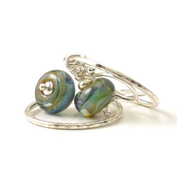 Lampwork Glass and Silver Hoop Earrings