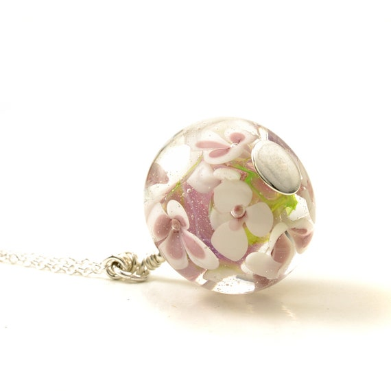 Long Pink Flower Pendant | Handmade Pink and White Lampwork Glass Flower Necklace on Long Sterling Silver Chain | Artglass Jewellery