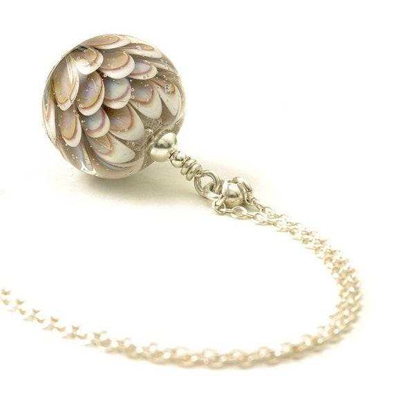 Faded Flower Lampwork Glass Pendant Necklace