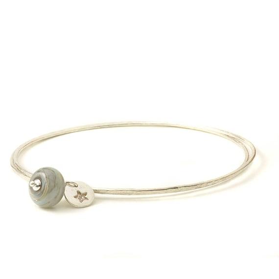 Grey Sterling Silver Charm Bangles