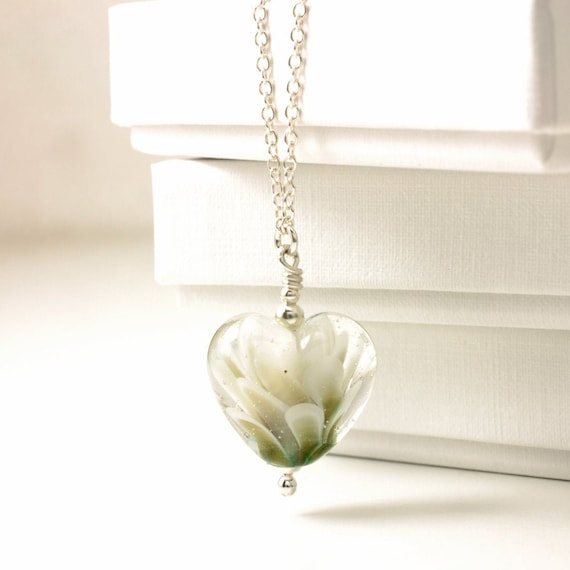 White and Gold Lampwork Glass Heart Pendant Necklace - Handmade Petal Collection Sterling Silver Jewellery