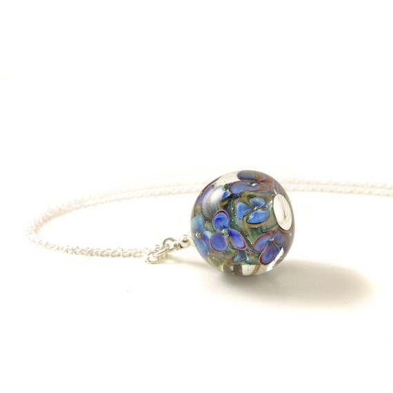 Long Glass Necklace with Violet and Blue Handmade Lampwork Flowers   Long Sterling Silver Pendant for Women   Glass Jewellery