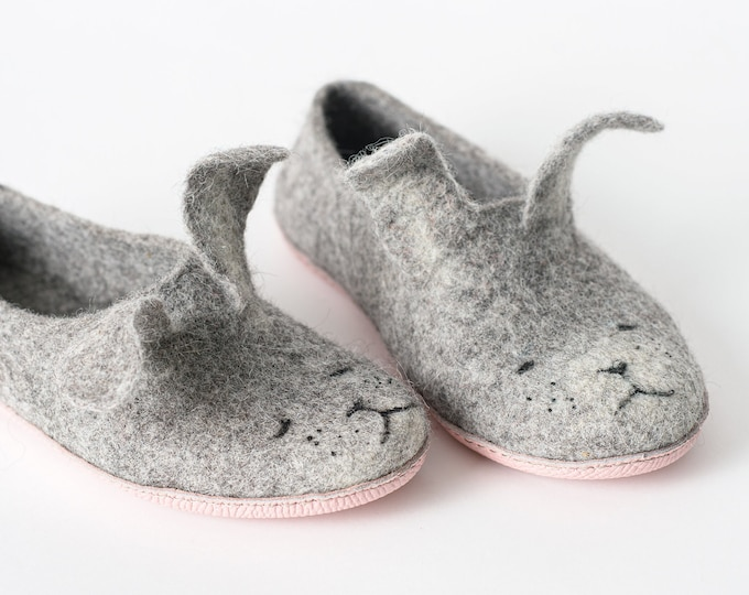 Bunny Felted Wool Slippers with leather soles for Boys and Girls Handmade in Europe