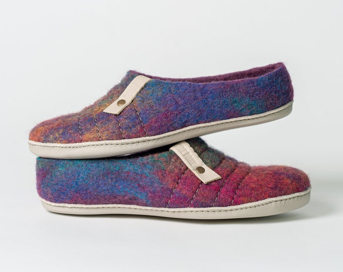 NEW felted natural wool slippers COCOON Easy slip on Purple Rainbow with sturdy stitching on surface