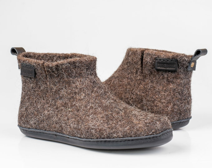 Brown WOOBOOT cozy wool boots slippers for women