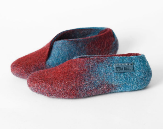 Handmade natural felted wool slippers - Turquoise and red envelope slippers - Cozy home shoes, felt wool slippers womans - Gift for her