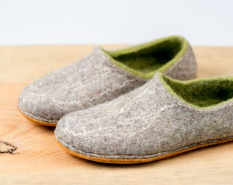 60cc72bfe099 Woodland housewarming gift felted slippers for women Gray Green slippers