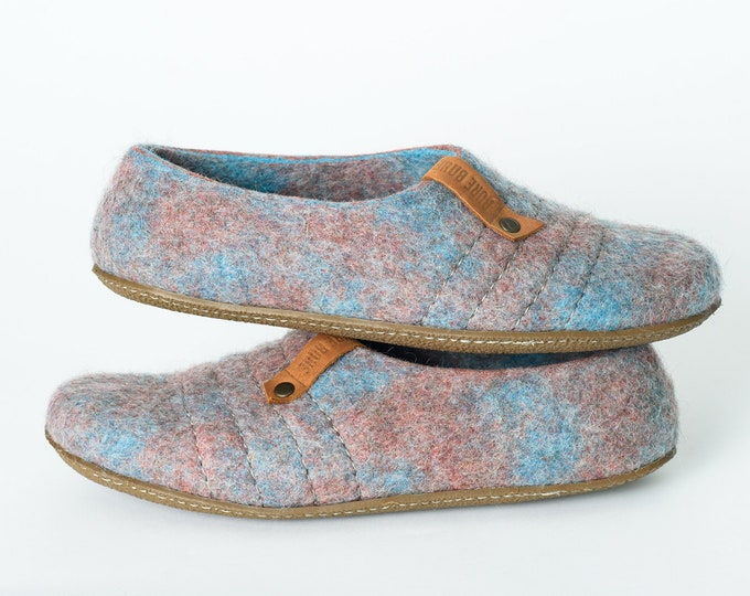 Light Turquoise and Rosewood Wool slippers COCOON for women with sturdy stitching on surface BureBure felted wool slippers
