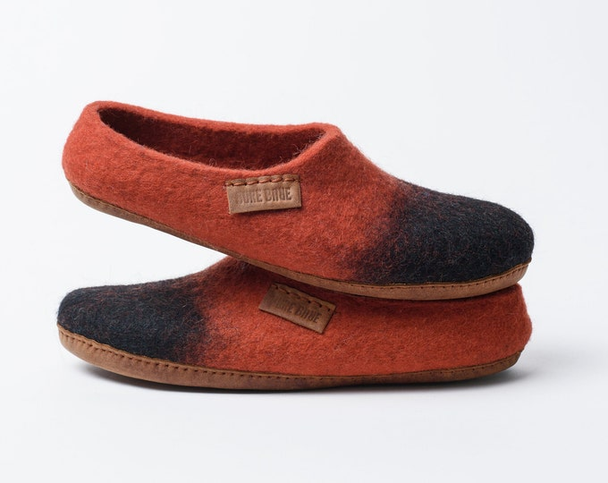 Low Back Woolen Clogs, Black & Cinnamon Wool Slippers Clogs, Felted Shoes by BureBure