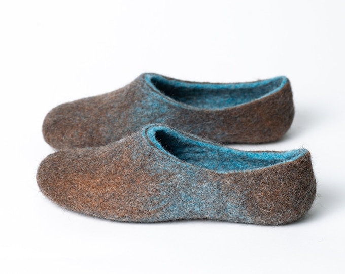 Brown Blue ombre boiled wool and alpaca slippers, Felted wool clogs, Handmade in Europe BureBure
